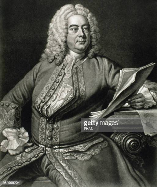George Frideric Handel . German, later British, baroque composer. Portrait. Engraving. Inspired on a portrait by Thomas Hudson in 1749.