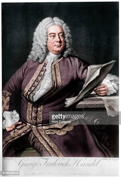 George Frideric Handel, German-born British Baroque composer, 1749. From Les Musiciens Celebres, Lucien Mazenod, Paris, 1948. . Artist John Faber the...
