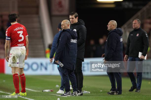 George Friend clashes with Preston North End manager Alex Neil after he kicked the ball away from him during added time during the Sky Bet...