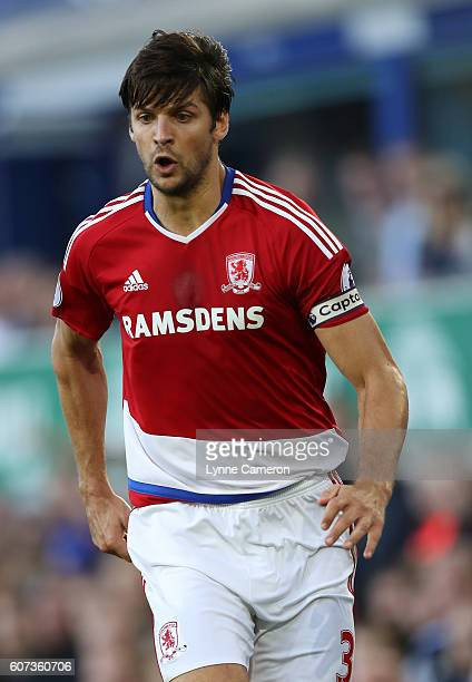 George Friend of Middlesbrough during the Premier League match between Everton and Middlesbrough at Goodison Park on September 17 2016 in Liverpool...