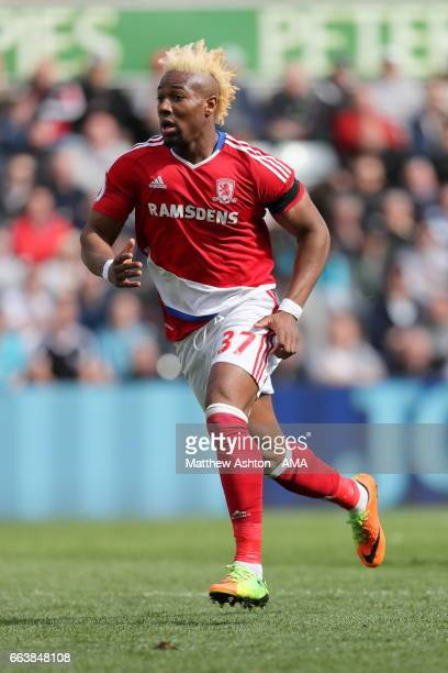 George Friend of Middlesbrough during the Premier League match between Swansea City and Middlesbrough at Liberty Stadium on April 2 2017 in Swansea...