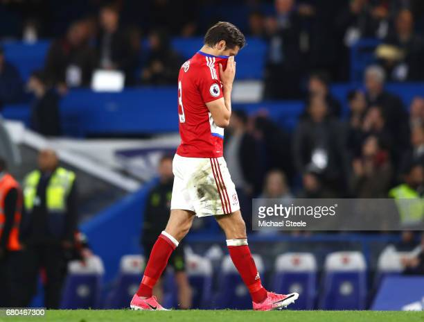 George Friend of Middlesbrough leaves the pitch looking dejected during the Premier League match between Chelsea and Middlesbrough at Stamford Bridge...