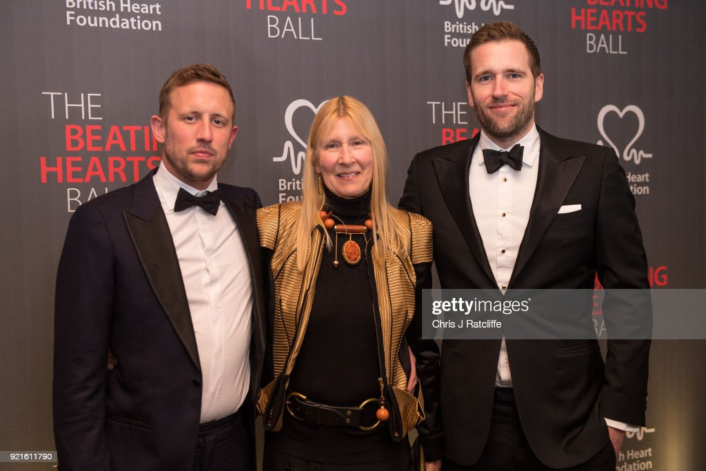 George Frost, Lady Carina Frost and Wilfred Frost attend the British Heart Foundation's 'The Beating Hearts Ball' at The Guildhall on February 20, 2018 in London, England.