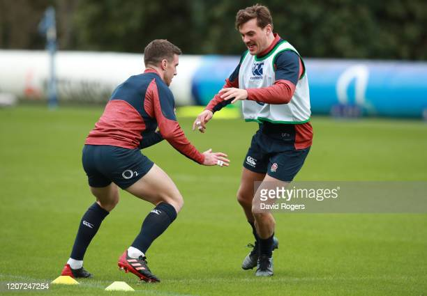 George Furbank and George Ford of England warm up during an England training session at Pennyhill Park on February 19 2020 in Bagshot England