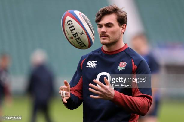 George Furbank in action during an England Open Training Session at Twickenham Stadium on February 14 2020 in London England