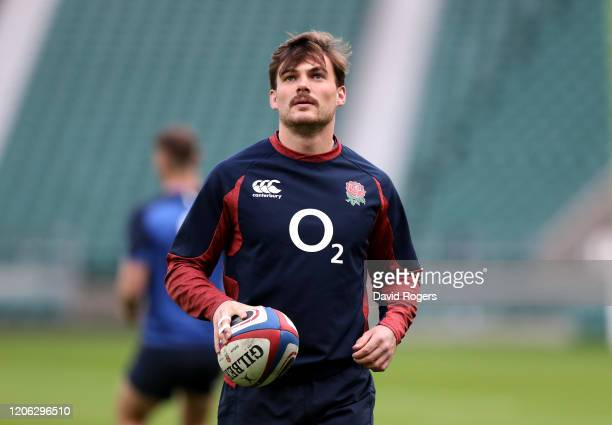 George Furbank looks on during the England training session held at Twickenham Stadium on February 14 2020 in London England