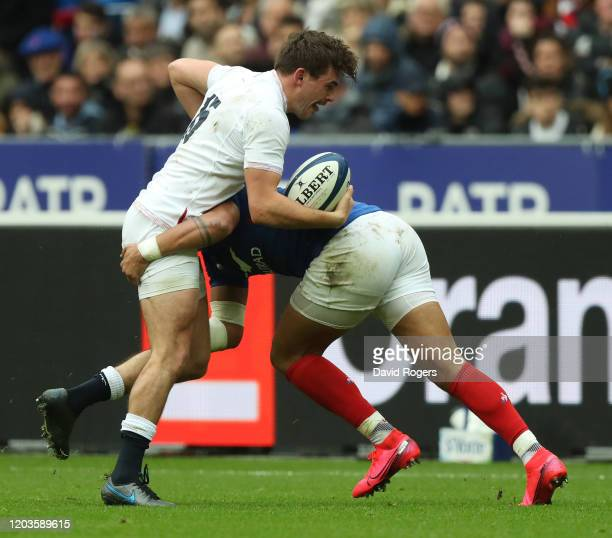 George Furbank of England is tackled during the 2020 Guinness Six Nations match between France and England at Stade de France on February 02 2020 in...