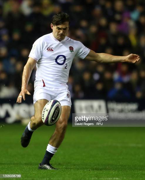 George Furbank of England kicks the ball upfield during the 2020 Guinness Six Nations match between Scotland and England at Murrayfield on February...