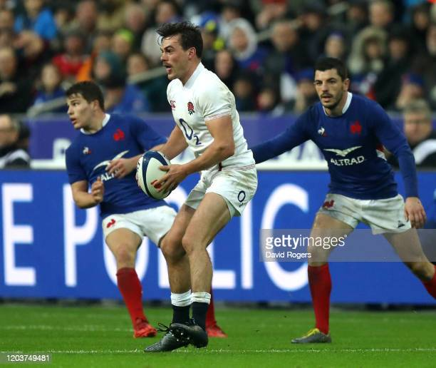George Furbank of England runs with the ball during the 2020 Guinness Six Nations match between France and England at Stade de France on February 02...