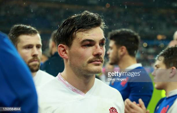 George Furbank of England walks off the pitch after their defeat during the 2020 Guinness Six Nations match between France and England at Stade de...