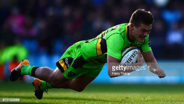George Furbank of Northampton Saints scores his sides first try during the AngloWelsh Cup match between Exeter Chiefs and Northampton Saints at Sandy...
