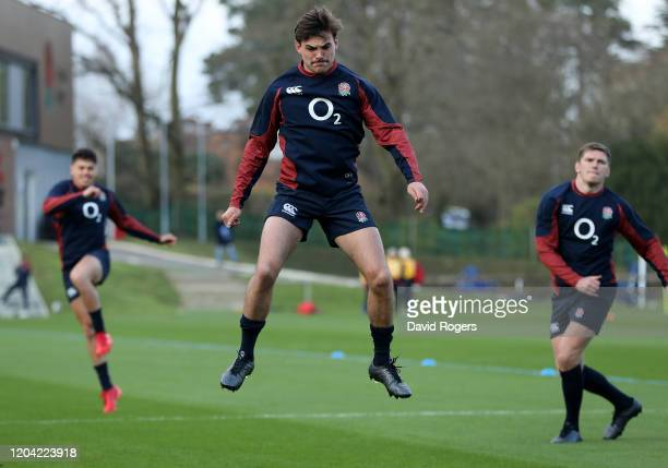 George Furbank warms up during the England training session held at Pennyhill Park on February 05 2020 in Bagshot England