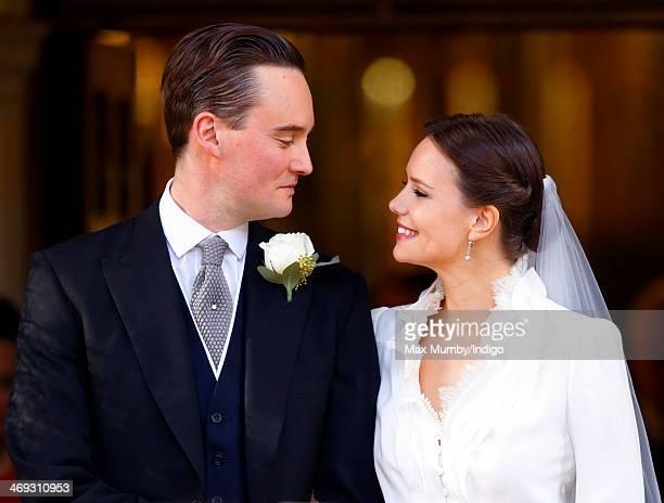 George GalliersPratt and Arabella Musgrave leave St Paul's Church Knightsbridge after their wedding on February 8 2014 in London England