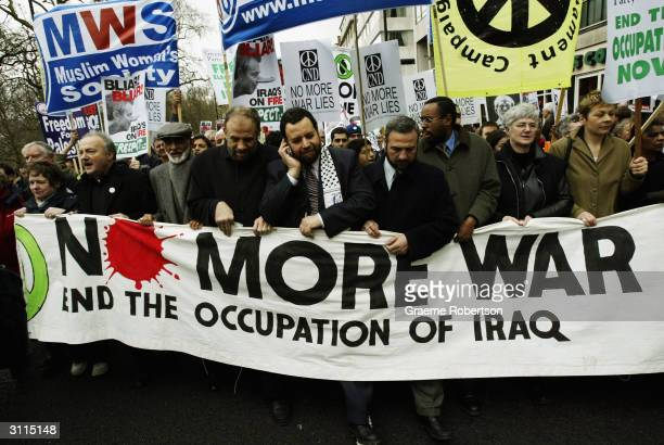 George Galloway leads an antiwar demonstration held to mark the anniversary of the Iraq War March 20 2004 in London A march from Hyde Park to...