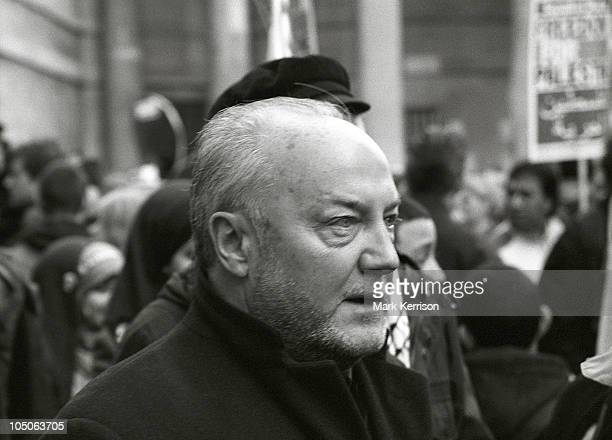 George Galloway MP protests outside Broadcasting House against the BBC's refusal to broadcast the Disasters Emergency Committee Gaza Appeal, at the...