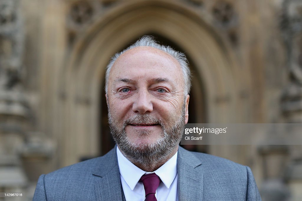 George Galloway poses for a photograph in front of the Houses of Parliament prior to being sworn in as a member of parliament on April 16, 2012 in London, England. Last month Mr Galloway won the Bradford West by-election with a majority of over 10,000 votes from Labour. The shock victory saw a swing towards his Respect party of over 36% from their fifth-place position in the 2010 general election.