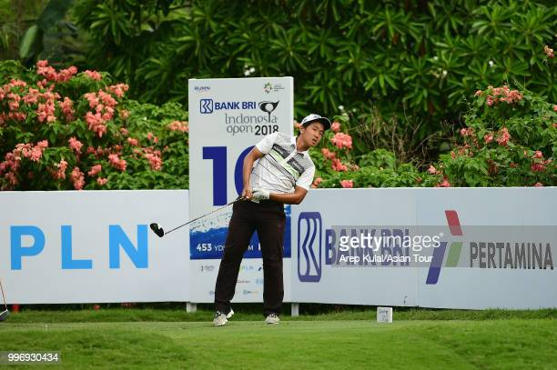 George Gandranata of Indonesia pictured during the first round of the Bank BRI Indonesia Open at Pondok Indah Golf Course on July 12 2018 in Jakarta...