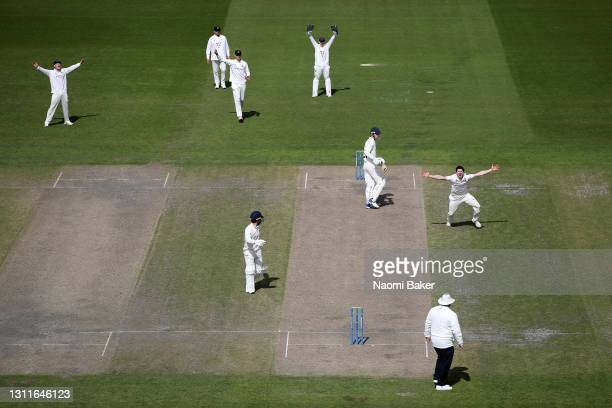 George Garton of Sussex appeals to the umpire during the LV= Insurance County Championship match between Sussex and Lancashire at Emirates Old...