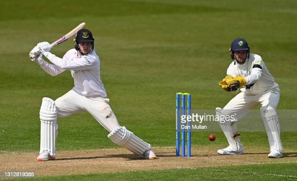 George Garton of Sussex bats during day two of the LV= Insurance County Championship match between Glamorgan and Sussex at Sophia Gardens on April...