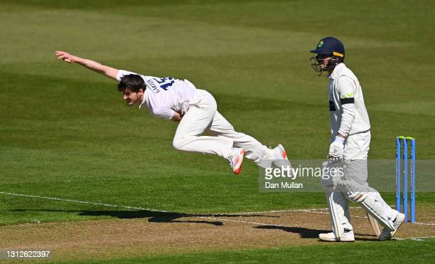 George Garton of Sussex bowls during day one of the LV= County Championship match between Glamorgan and Sussex at Sophia Gardens on April 15, 2021 in...