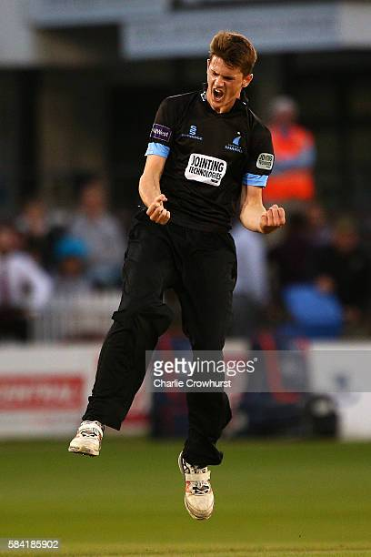 George Garton of Sussex celebrates after taking the wicket of Aneurin Donald of Glamorgan during the NatWest T20 Blast match between Sussex and...