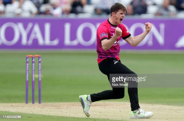 George Garton of Sussex celebrates taking the wicket of Varun Chopra during the Royal London One Day Cup match between Essex Eagles and Sussex Sharks...