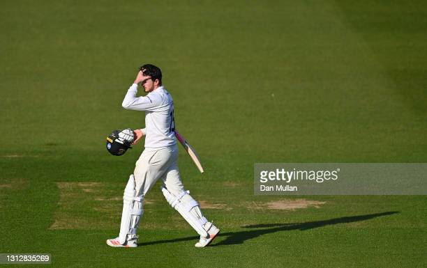 George Garton of Sussex leaves the field dejected after being given out LBW on 97 during day two of the LV= Insurance County Championship match...