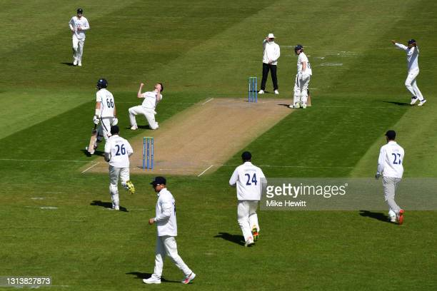 George Garton of Suusex celebrates after trapping Joe Root of Yorkshire lbw during Day 1 of the LV= Insurance County Championship match between...