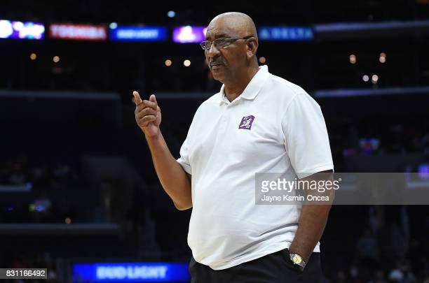 George Gervin head coach of Ghost Ballers during the BIG3 game against 3's Company at Staples Center on August 13 2017 in Los Angeles California