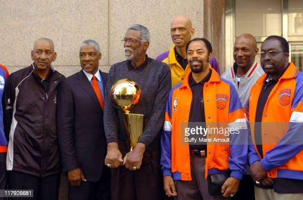 George Gervin Julius Erving Bill Russel Kareem AbdulJabbar Walt 'Clyde' Frazier Clyde Drexler and Earl Monroe with the 2005 Larry O'Brien NBA...