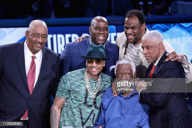 George Gervin Magic Johnson Allen Iverson Bill Russell Dave Robinson and Julius Erving attend the 68th NBA AllStar Game at Spectrum Center on...