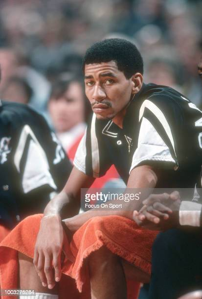 George Gervin of the San Antonio Spurs looks on from the bench against the Washington Bullets during an NBA basketball game circa 1978 at the Capital...