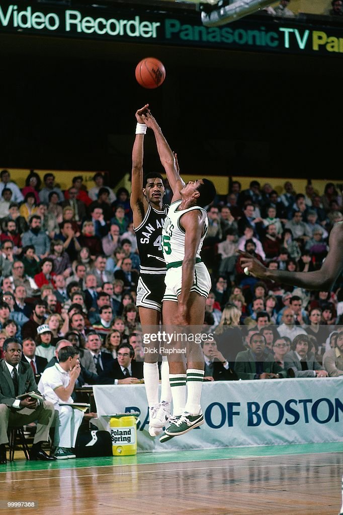 George Gervin #44 of the San Antonio Spurs shoots a jump shot against the Boston Celtics during a game played in 1983 at the Boston Garden in Boston, Massachusetts.