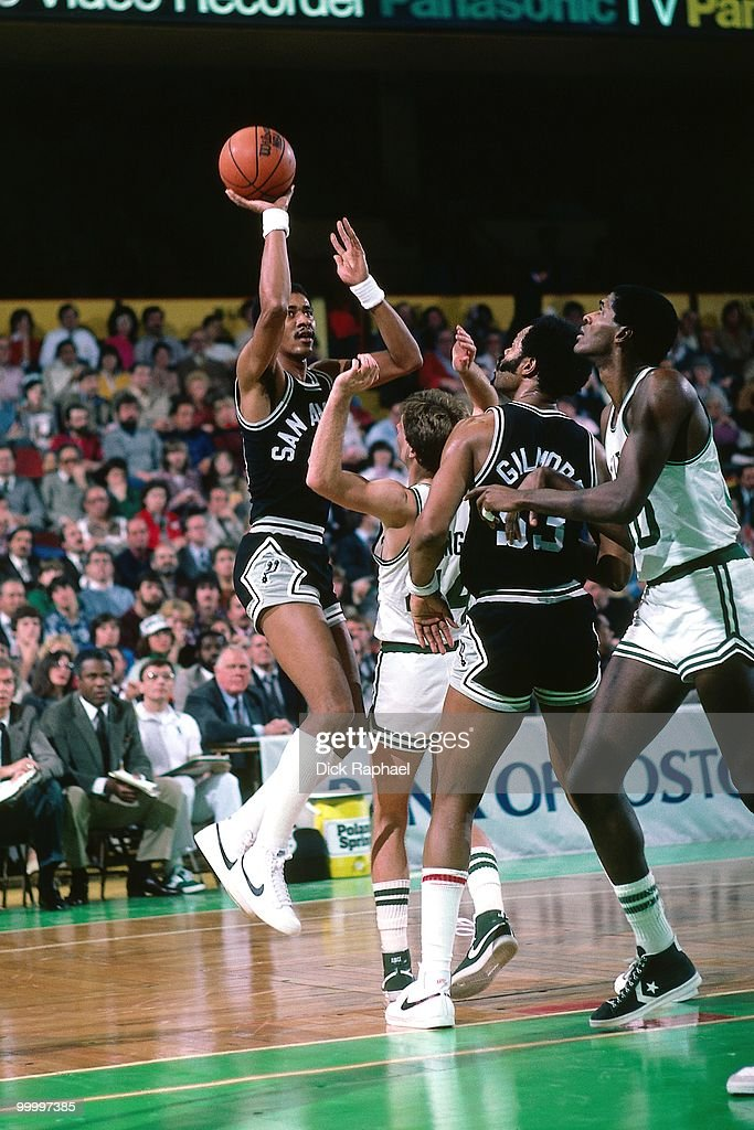 George Gervin #44 of the San Antonio Spurs shoots a jumper against the Boston Celtics during a game played in 1983 at the Boston Garden in Boston, Massachusetts.