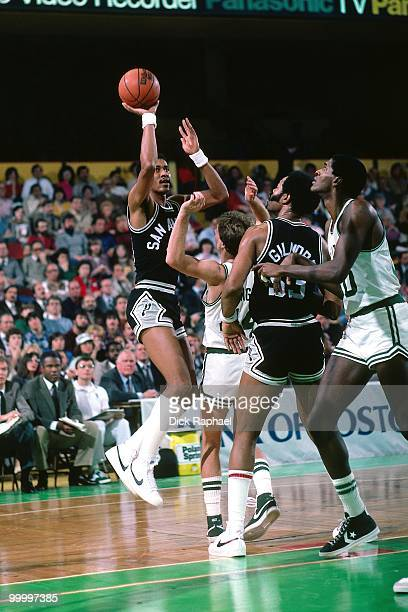 George Gervin of the San Antonio Spurs shoots a jumper against the Boston Celtics during a game played in 1983 at the Boston Garden in Boston...