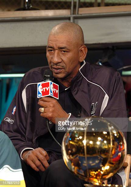 George Gervin with the 2005 Larry O'Brien NBA Championship Trophy