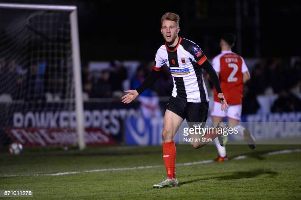 George Glendon of Chorley celebrates after scoring during The Emirates FA Cup First Round match between Chorley and Fleetwood Town at Victory Park on...