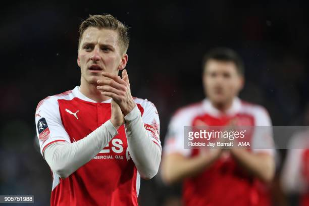 George Glendon of Fleetwood Town applauds the fans during The Emirates FA Cup Third Round Replay match between Leicester City and Fleetwood Town at...