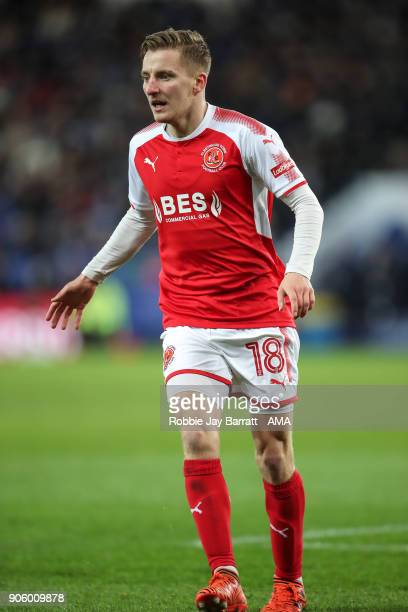 George Glendon of Fleetwood Town during The Emirates FA Cup Third Round Replay match between Leicester City and Fleetwood Town at The King Power...
