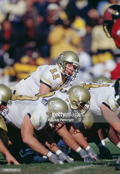 George Godsey Quarterback for the Georgia Tech Yellow Jackets calls the play at the snap on the line of scrimmage during the NCAA Atlantic Coast...