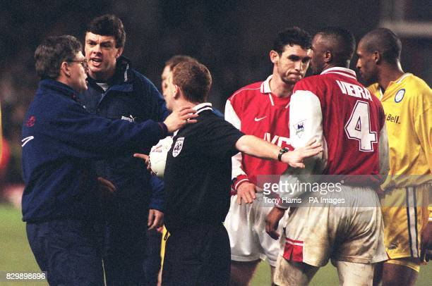 George Graham's No2 David O'Leary remonstrates with referee Paul Durkin at the end of Leeds' fourth round FA Cup tie against Arsenal at Highbury this...