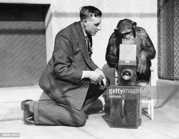 George Greenwell Daily Mirror photographer seen here in the monkey house at London Zoo Circa 1926