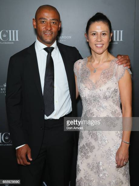 George Gregan and Erica Gregan arrive ahead of the Moet Chandon MCIII Launch at Sydney Opera House on March 21 2017 in Sydney Australia