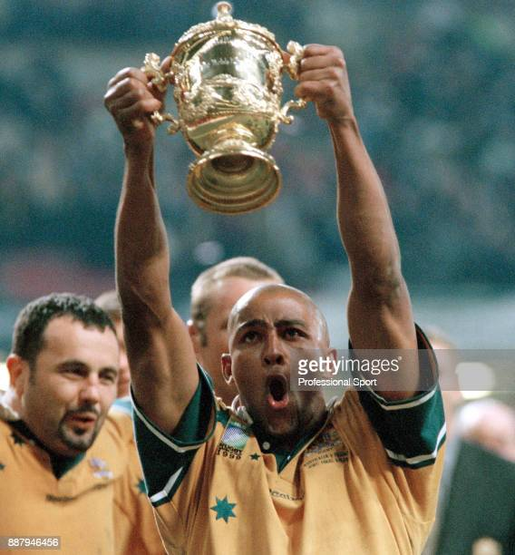 George Gregan of Australia celebrates their 3512 win against France in the rugby union World Cup final match at the Millennium Stadium in Cardiff on...