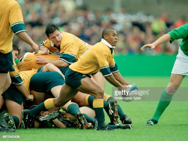 George Gregan of Australia in action against Ireland during their World Cup Pool E match at Lansdowne Road in Dublin on 10th October 1999 Australia...