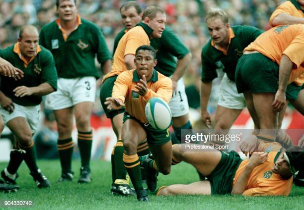 George Gregan of Australia in action against South Africa during their Rugby Union Pool A match at Newlands in Cape Town on 25th May 1995 South...