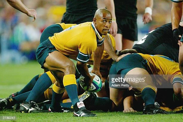 George Gregan of Australia passes the ball during the Rugby World Cup SemiFinal match between Australia and New Zealand at Telstra Stadium November...