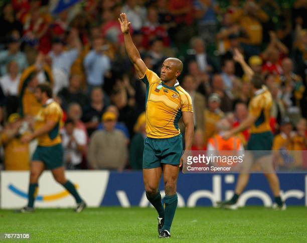 George Gregan of Australia waves to the crowd after victory in the Rugby World Cup 2007 Pool B match between Wales and Australia at the Millenium...