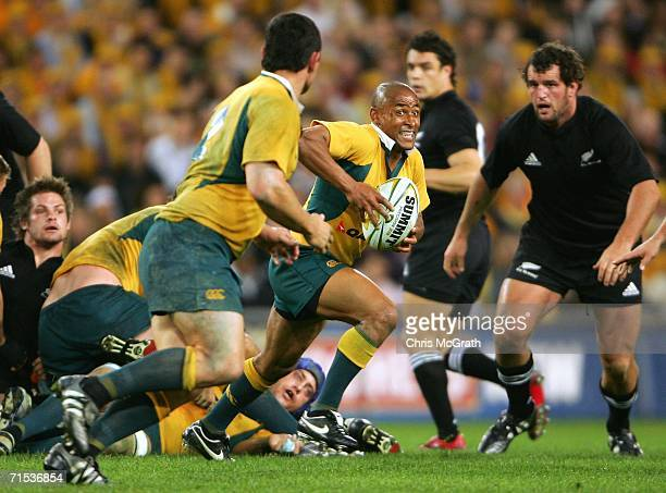 George Gregan of the Wallabies looks to pass during the Tri Nations series Bledisloe Cup match between the Australian Wallabies and the New Zealand...