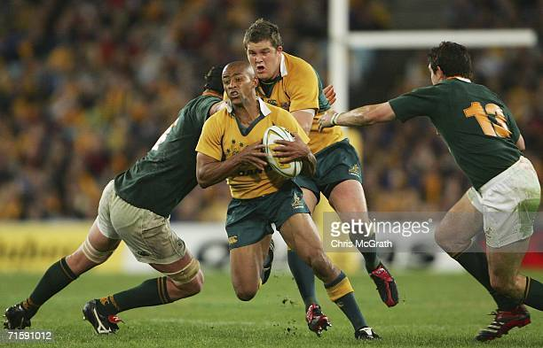 George Gregan of the Wallabies makes a break during the Tri Nations series second Mandela plate match between Australia and South Africa played at...